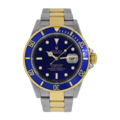 Rolex Submariner Date Vintage Two-Tone Stainless-Steel Blue Dial Watch 1661