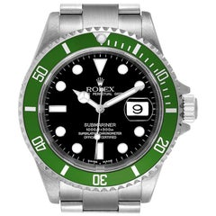 Rolex Submariner Flat 4 Green 50th Anniversary Watch 16610LV Box Papers