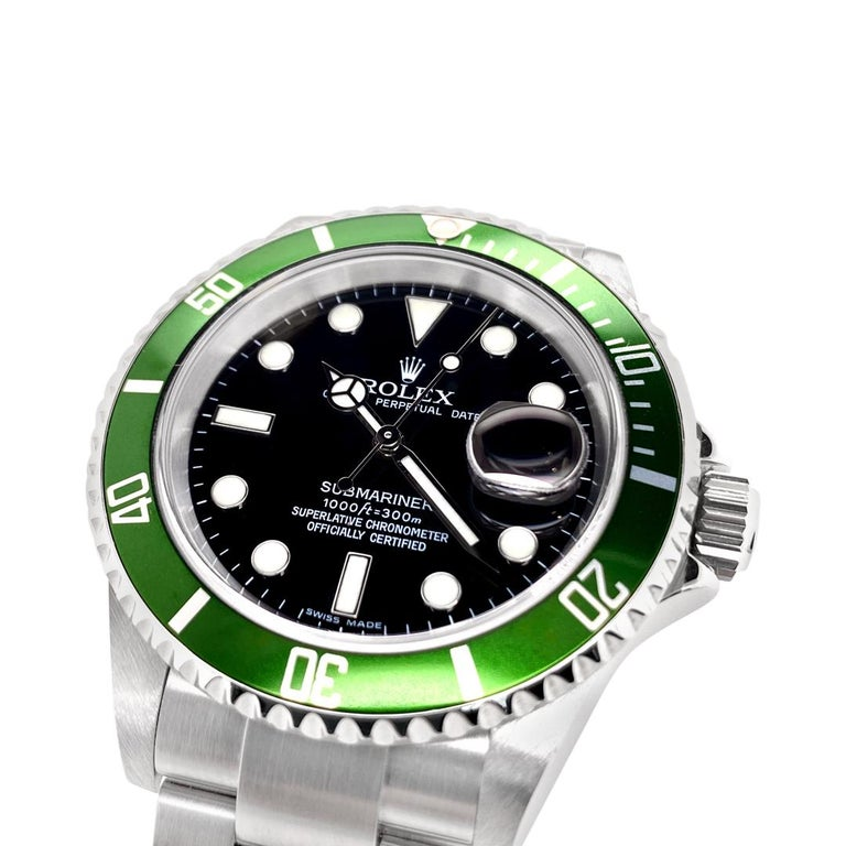 Women's or Men's Rolex Submariner Green 50th Anniversary Edition M16610LV For Sale