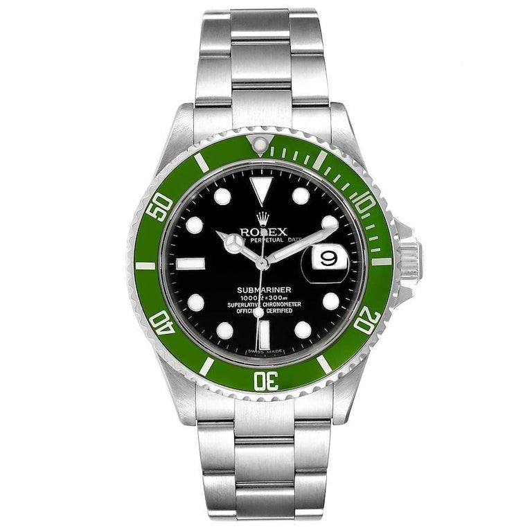 Rolex Submariner Green 50th Anniversary Mens Watch 16610LV Box Papers. Officially certified chronometer self-winding movement. Stainless steel oyster case 40.0 mm in diameter. Rolex logo on a crown. Special time-lapse unidirectional rotating bezel