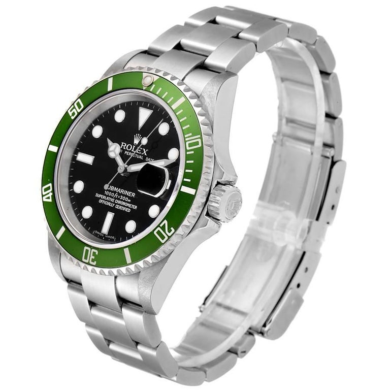 Rolex Submariner Green 50th Anniversary Men's Watch 16610LV Box Papers For Sale 1