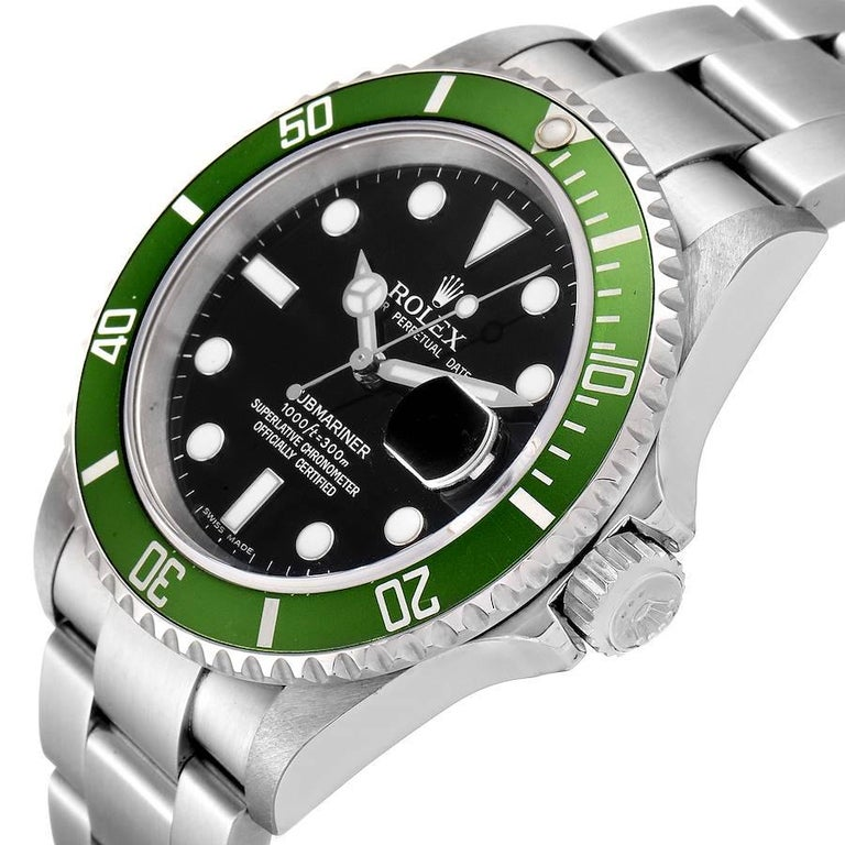 Rolex Submariner Green 50th Anniversary Men's Watch 16610LV Box Papers For Sale 2