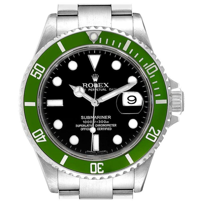 Rolex Submariner Green 50th Anniversary Men's Watch 16610LV Box Papers For Sale