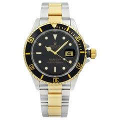 Rolex Submariner Holes 18 Karat Holes Steel Black Dial Automatic Men Watch 16613