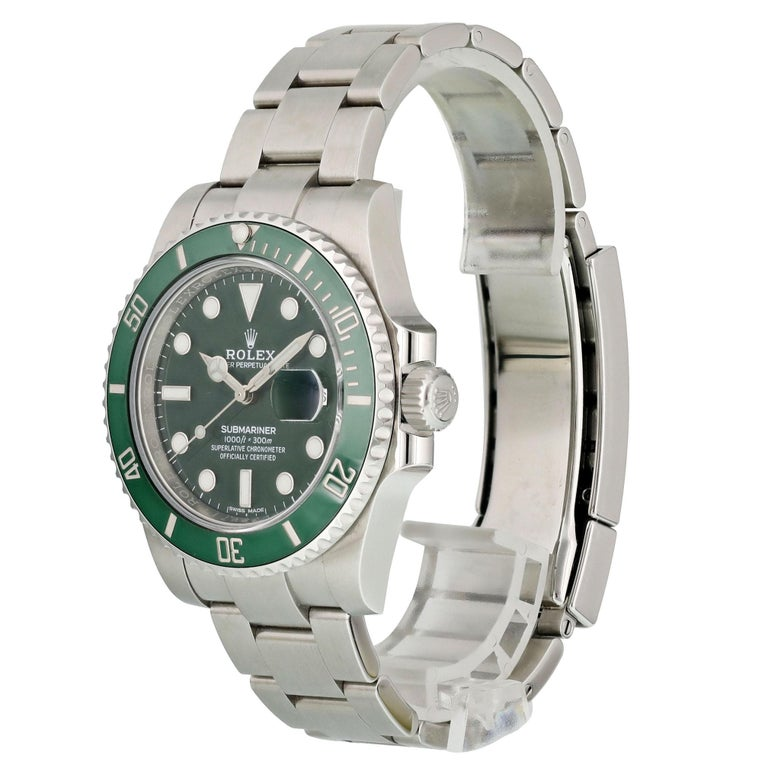 Rolex Submariner Hulk 116610lV Men Watch.  40mm Stainless Steel case.  Stainless Steel Unidirectional bezel with green ceramic bezel insert.  Green dial with Luminous Steel hands and index, dot hour markers.  Minute markers on the outer dial.  Date