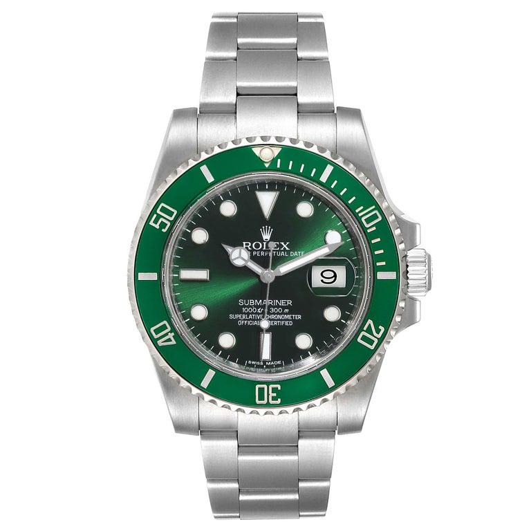 Rolex Submariner Hulk Green Dial Bezel Mens Watch 116610LV Box Card. Officially certified chronometer self-winding movement. Oyster case 40 mm in diameter. Rolex logo on a crown. Special time-lapse unidirectional rotating green ceramic bezel.