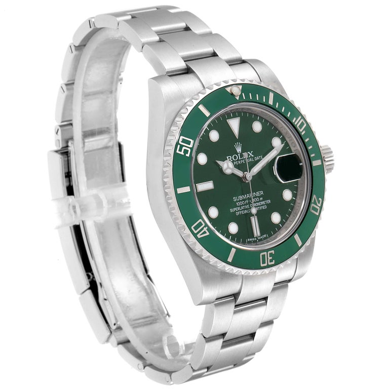 Rolex Submariner Hulk Green Dial Bezel Men's Watch 116610LV Box Card In Excellent Condition For Sale In Atlanta, GA