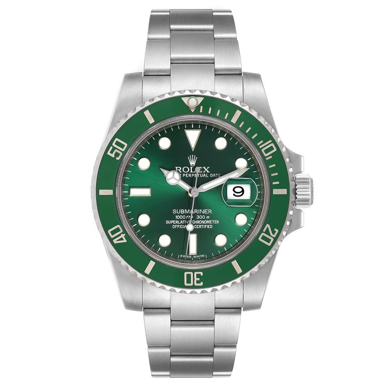 Rolex Submariner Hulk Green Dial Bezel Steel Steel Mens Watch 116610LV. Officially certified chronometer self-winding movement. Stainless steel case 40 mm in diameter. Rolex logo on a crown. Special time-lapse unidirectional rotating green ceramic