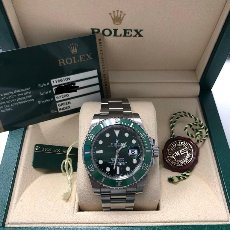 Rolex Submariner Hulk Green Dial Bezel Watch 116610LV In Excellent Condition For Sale In New York, NY