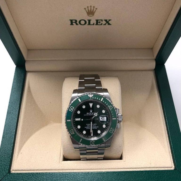Men's Rolex Submariner Hulk Green Dial Bezel Watch 116610LV For Sale