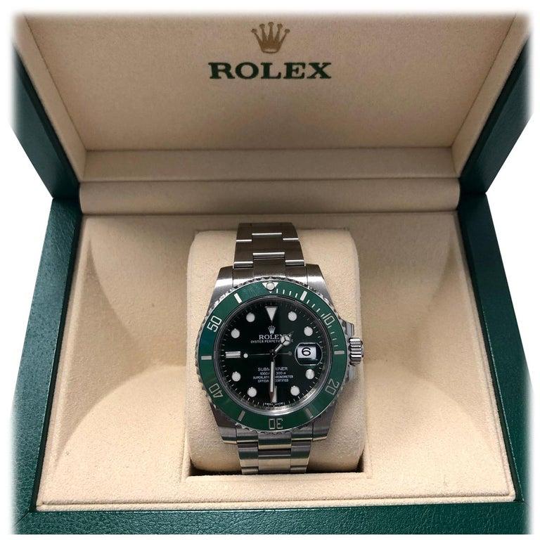 Rolex Submariner Hulk Green Dial Bezel Watch 116610LV For Sale
