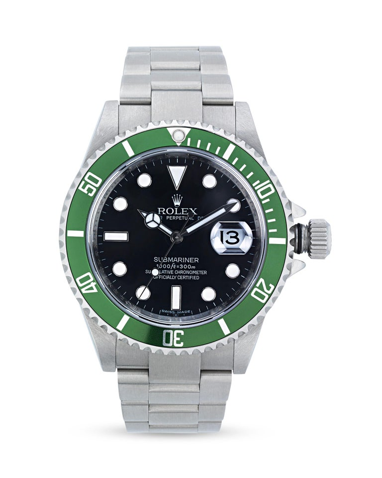 This 50th anniversary Rolex Submariner Reference 16610V is a classic design from the world-renowned watchmakers. The timepiece is based on Rolex's original Submariner Reference 6204 dating to the 1950s, which was specially designed to be sporty,