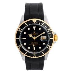 Rolex Submariner Men's 2-Tone Watch 16613 on Rubber B Strap