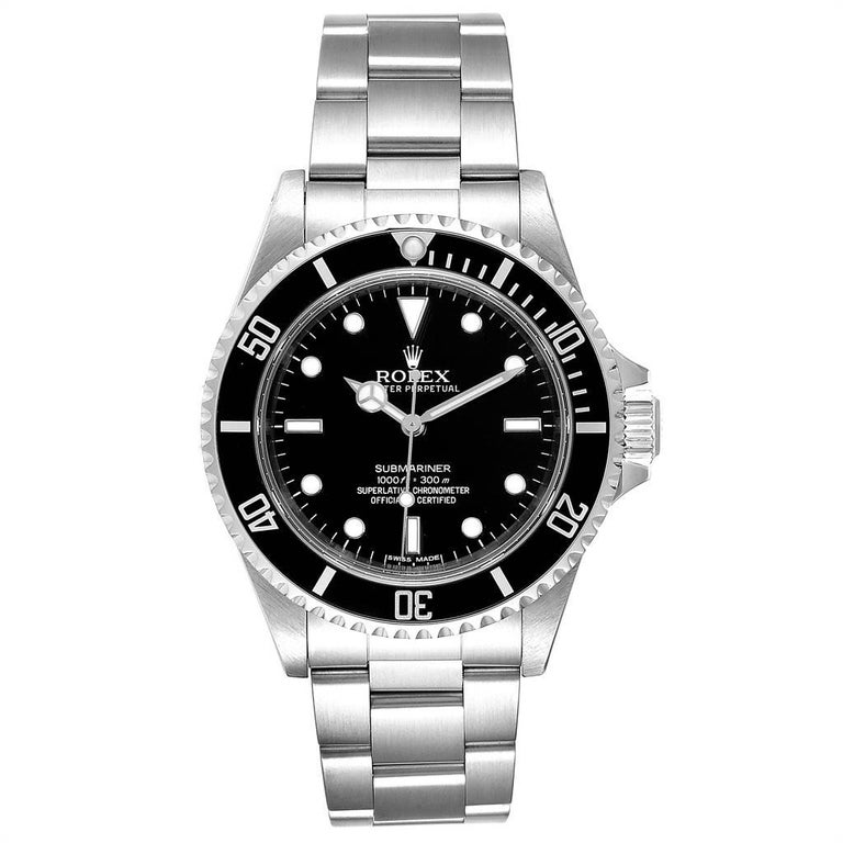 Rolex Submariner Non-Date Steel Mens Watch 14060 Box Card. Automatic self-winding movement. Stainless steel case 40.0 mm in diameter. Rolex logo on a crown. Special time-lapse unidirectional rotating bezel. Scratch resistant sapphire crystal. Black