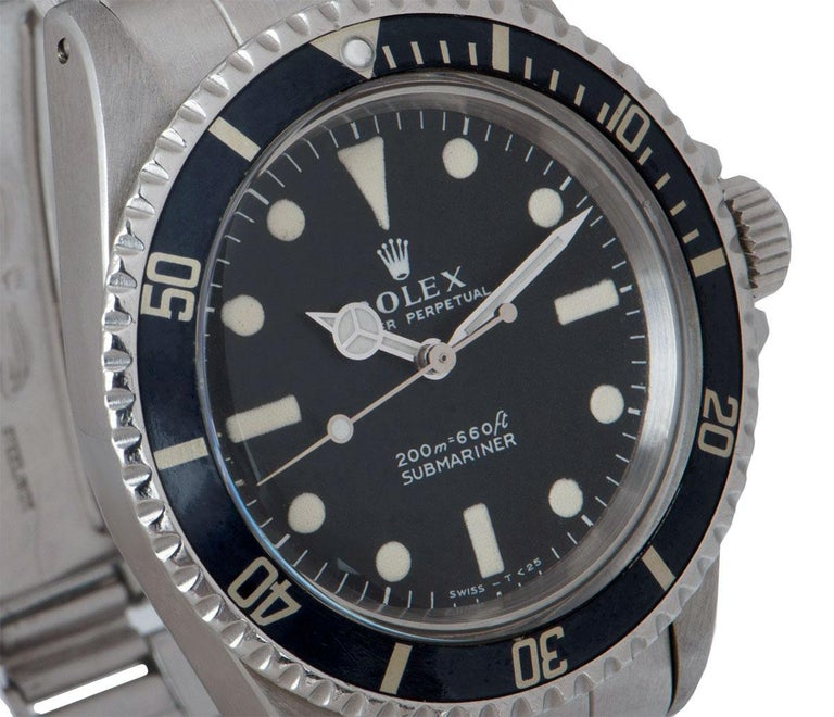 Rolex Submariner Non-Date Vintage Gents Stainless Steel Matte Black Dial B&P 551 In Excellent Condition For Sale In London, GB