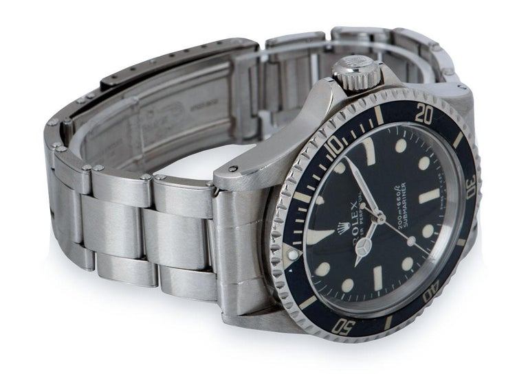 Rolex Submariner Non-Date Vintage Gents Stainless Steel Matte Black Dial B&P 551 For Sale 1