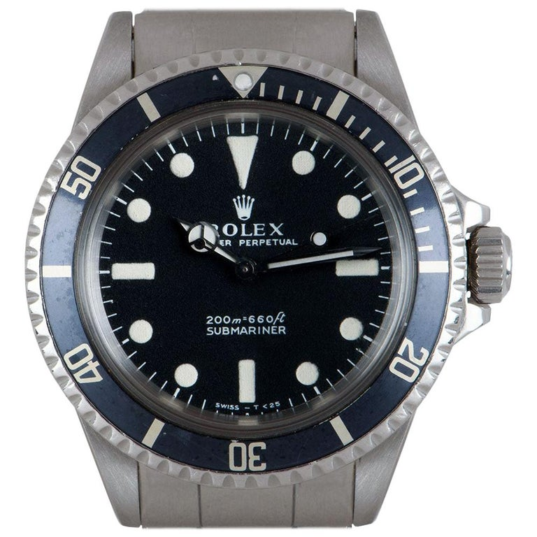 Rolex Submariner Non-Date Vintage Gents Stainless Steel Matte Black Dial B&P 551 For Sale