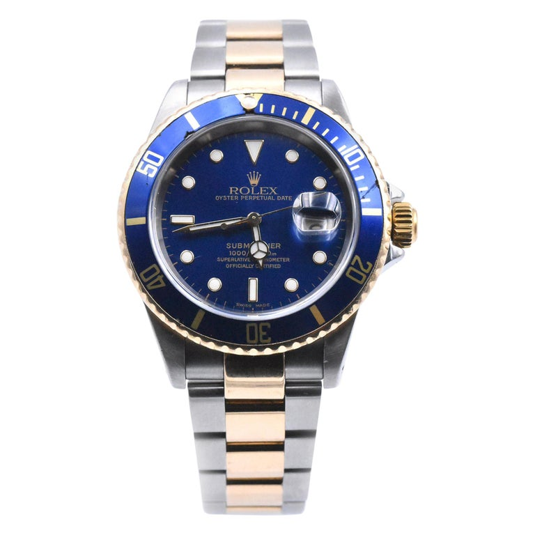 Rolex Submariner Two-Tone Blue Dial Watch Ref 16613 For Sale