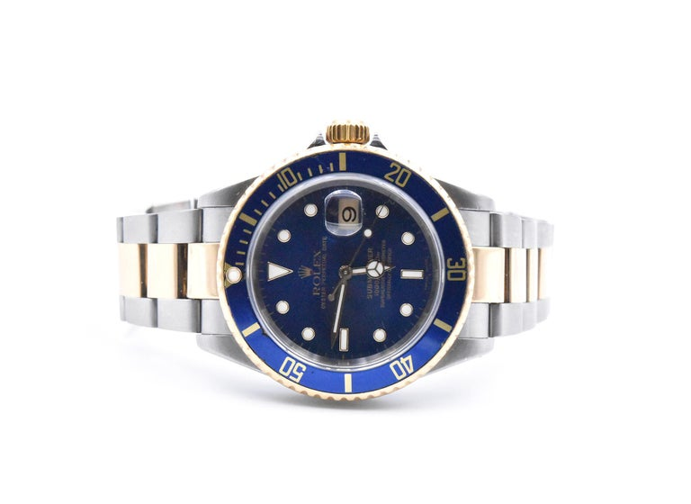 Women's or Men's Rolex Submariner Two-Tone Blue Dial Watch Ref 16613 For Sale