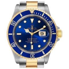Rolex Submariner Purple Blue Dial Steel Yellow Gold Men's Watch 16613 Box