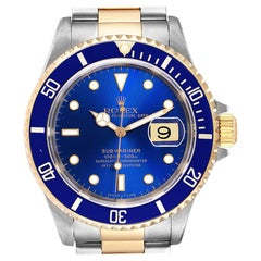 Rolex Submariner Purple Blue Dial Steel Yellow Gold Men's Watch 16613 Box Papers