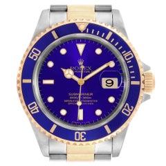 Rolex Submariner Purple Blue Dial Steel Yellow Gold Men's Watch 16613