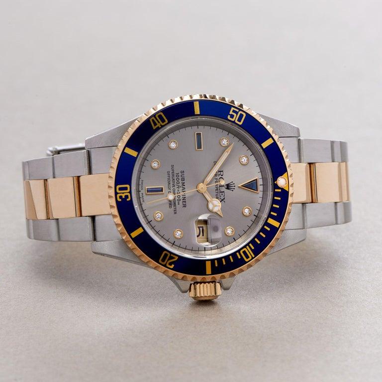 Rolex Submariner Serti 16613 Men Yellow Gold & Stainless Steel 0 Watch For Sale 1