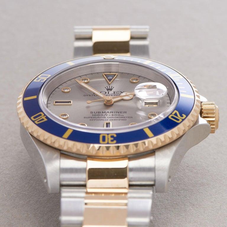 Rolex Submariner Serti 16613 Men Yellow Gold & Stainless Steel 0 Watch For Sale 4