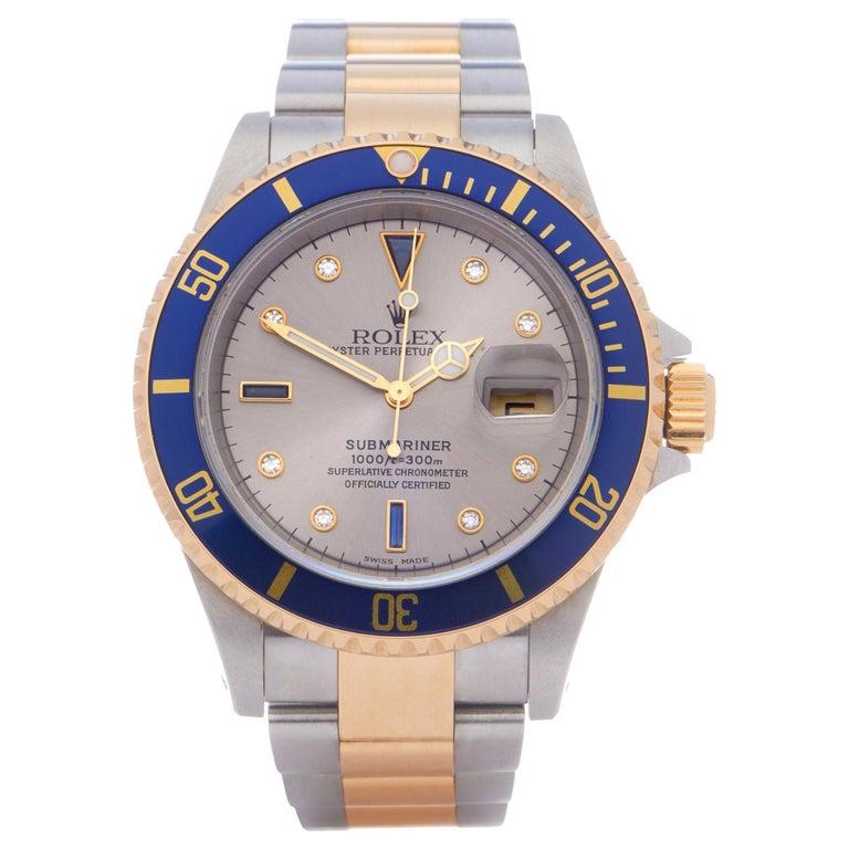 Rolex Submariner Serti 16613 Men Yellow Gold & Stainless Steel 0 Watch For Sale