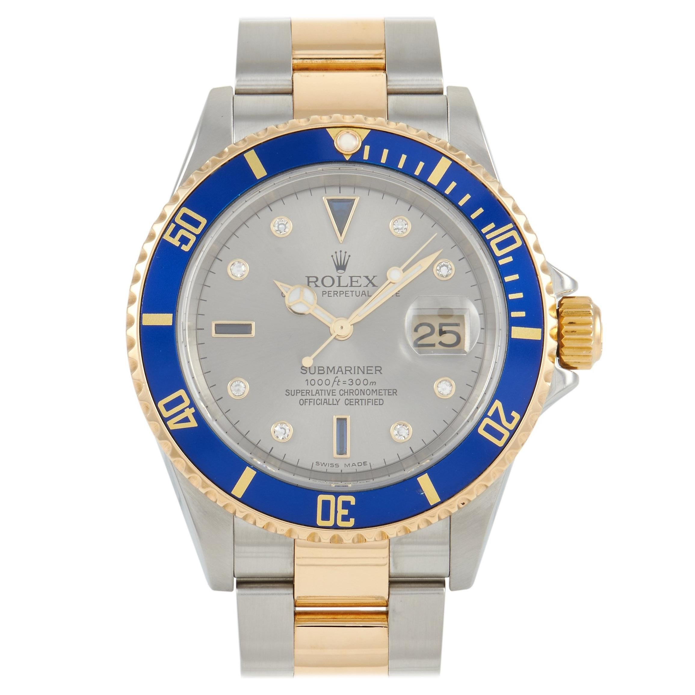 Rolex Submariner Serti Two-Tone Watch 16613