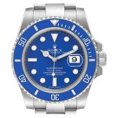 Rolex Submariner Smurf White Gold Blue Dial Bezel Watch 116619 Box Card