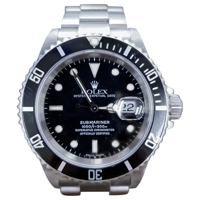 Rolex Submariner, Stainless, Model Number 16610, Registered 2008 For Sale