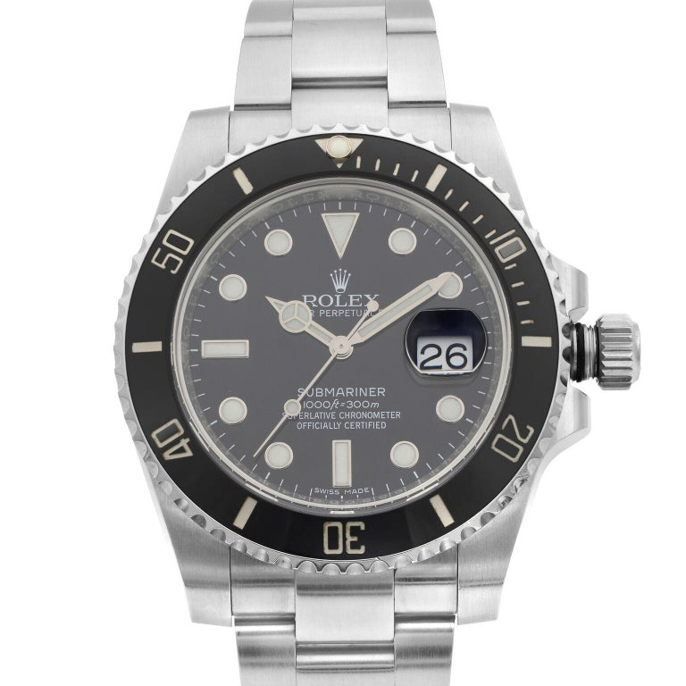 This pre-owned Rolex Submariner 116610LN is a beautiful men's timepiece that is powered by mechanical (automatic) movement which is cased in a stainless steel case. It has a round shape face, date indicator dial and has hand  style markers. It is
