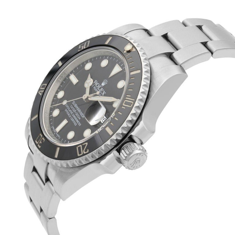 Men's Rolex Submariner Stainless Steel Black Dial Date Automatic Men's Watch 116610LN For Sale