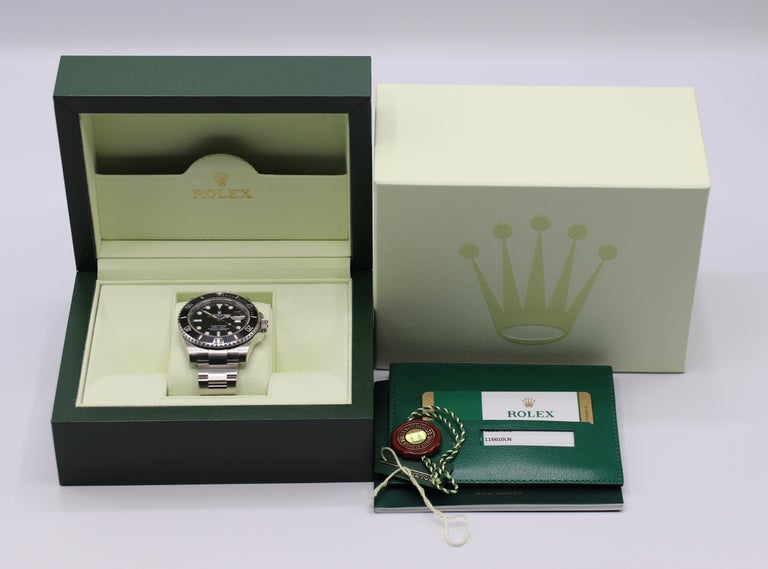 Rolex Submariner Stainless Steel Black Reference 116610LN Box and Papers For Sale 10
