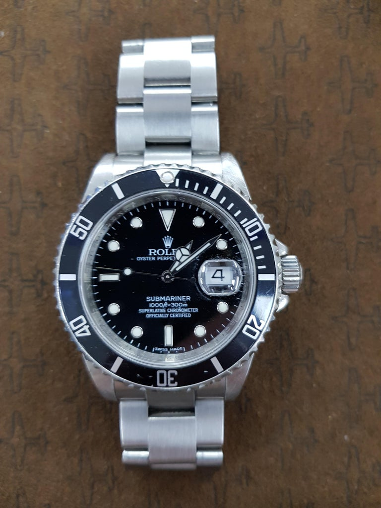 Contemporary Rolex Submariner, Stainless Steel, Model Number 16610, Registered 2004 For Sale