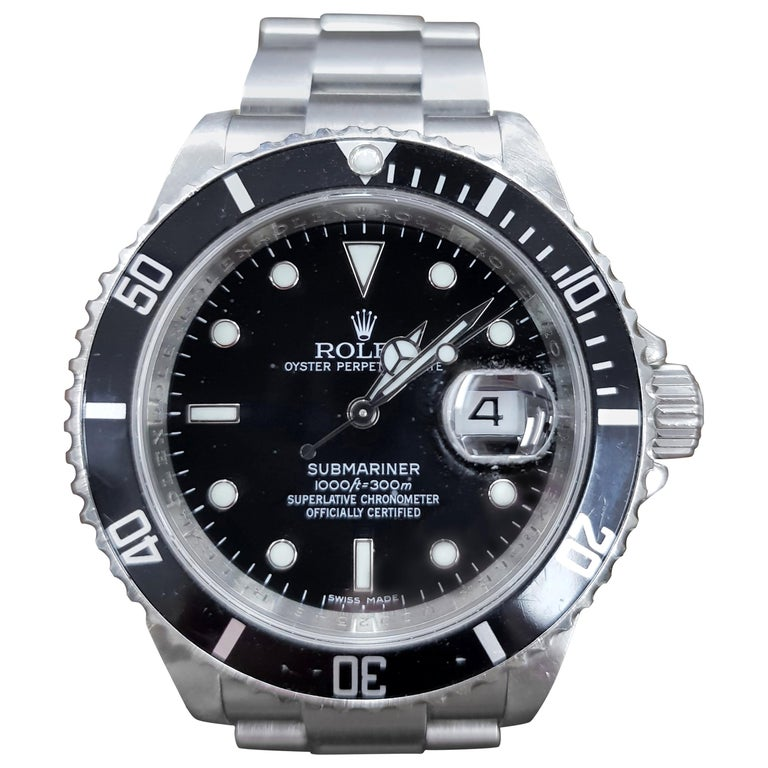 Rolex Submariner, Stainless Steel, Model Number 16610, Registered 2004 For Sale
