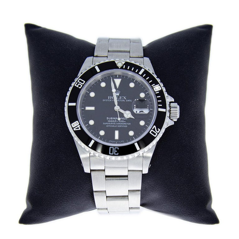 Item Details Estimated Retail $8,500.00 Brand Rolex Collection Submariner Case Material Stainless Steel Gender Mens MPN 16610 Movement Mechanical Automatic Face Color Black Band Type Bracelet Case Size 40 mm Style Diver Cert/Paperwork Box &
