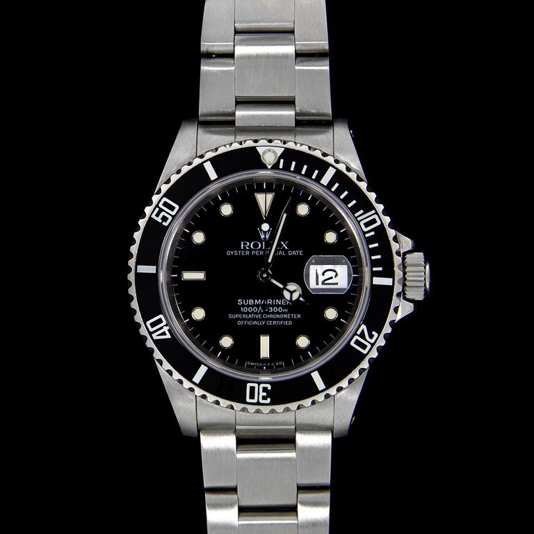 Men's Rolex Stainless Steel Submariner Watch with Black Dial, Model 16610 For Sale