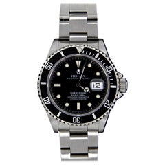 Rolex Stainless Steel Submariner Watch with Black Dial, Model 16610