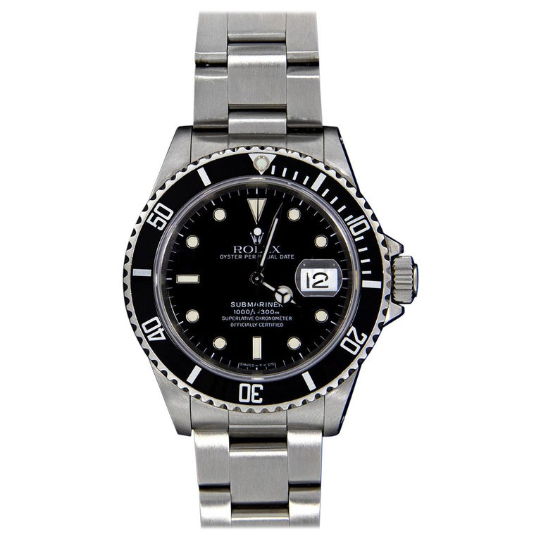 Rolex Stainless Steel Submariner Watch with Black Dial, Model 16610 For Sale