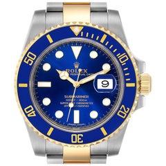 Rolex Submariner Steel 18 Karat Gold Blue Dial Men's Watch 116613 Box Card