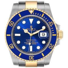 Rolex Submariner Steel 18 Karat Gold Blue Dial Men's Watch 116613 Box Papers