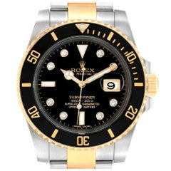 Rolex Submariner Steel 18 Karat Yellow Gold Black Diamond Dial Watch 116613