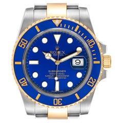Rolex Submariner Steel 18 Karat Yellow Gold Blue Dial Men's Watch 116613