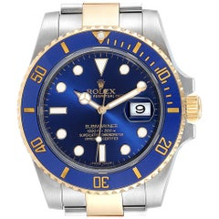Rolex Submariner Steel 18 Karat Yellow Gold Blue Dial Watch 116613