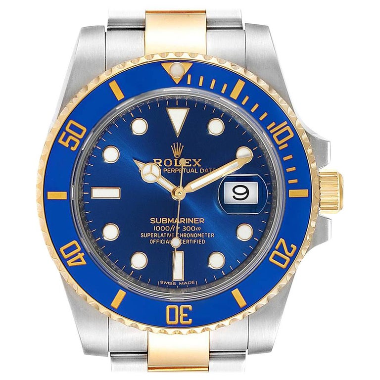 Rolex Submariner Steel 18 Karat Yellow Gold Blue Dial Watch 116613 For Sale