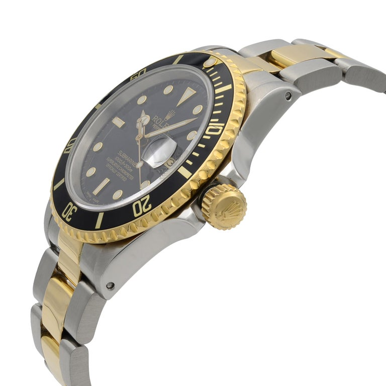 Rolex Submariner Steel 18K Yellow Gold Black Dial Automatic Men's Watch 16803 In Good Condition For Sale In New York, NY