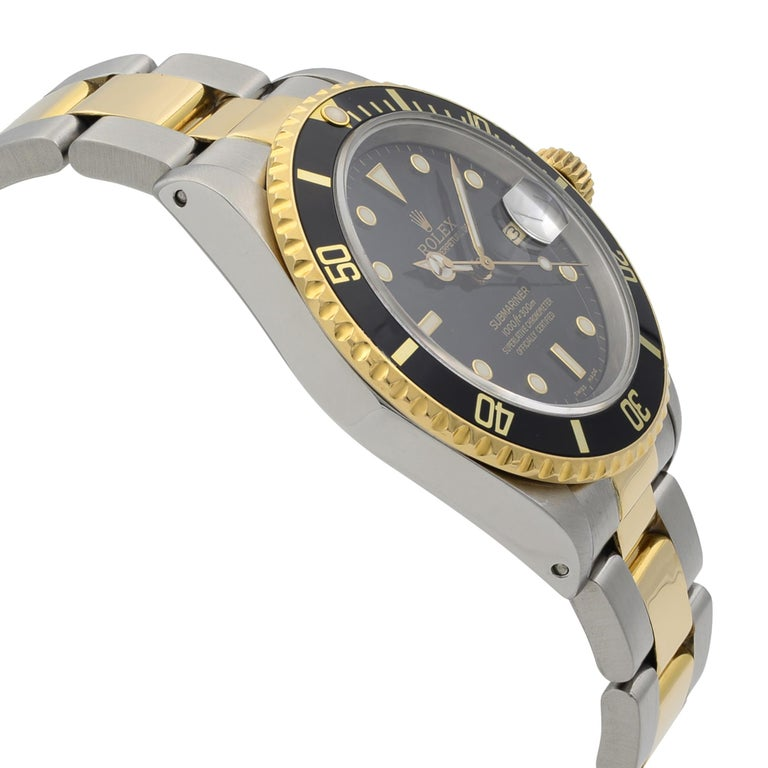 Rolex Submariner Steel 18K Yellow Gold Black Dial Automatic Men's Watch 16803 For Sale 1