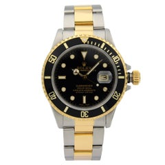 Rolex Submariner Steel 18K Yellow Gold Black Dial Automatic Men's Watch 16803